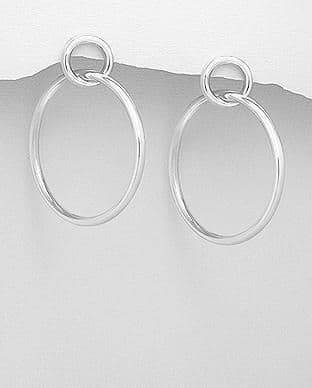 925 Sterling Silver Large Hoop Earrings with Stud Backs